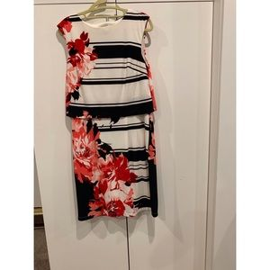 Dresses & Skirts - striped and floral faux two piece midi dress.